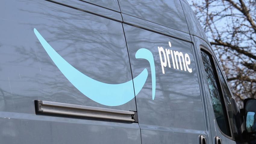An Amazon delivery truck seen on March 18, 2020, in Plainview, N.Y.