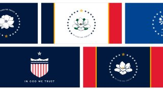 the five proposed designs chosen by the Mississippi State Flag Commission