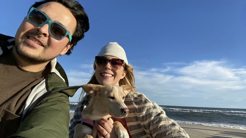 TODAY news writer Emily Gerard with fiancé Alex and rescue pup Zadie.