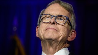 In this file photo, Republican Gubernatorial-elect Ohio Attorney General Mike DeWine gives his victory speech after winning the Ohio gubernatorial race at the Ohio Republican Party's election night party at the Sheraton Capitol Square on November 6, 2018 in Columbus, Ohio.