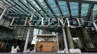 VANCOUVER, BRITISH COLUMBIA - APRIL 11: The entrance to Trump International Hotel Vancouver is closed and boarded up due to the Coronavirus, is seen on April 11, 2020 in Vancouver, Canada. The tourism industry have been hit hard by the restrictions in response to the outbreak of COVID-19.