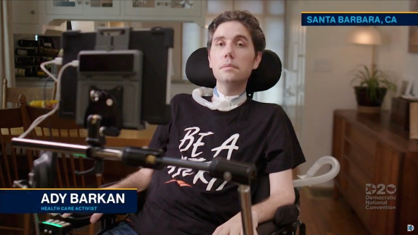 In this screenshot from the DNCC's livestream of the 2020 Democratic National Convention, health care activist Ady Barkan addresses the virtual convention on August 18, 2020.