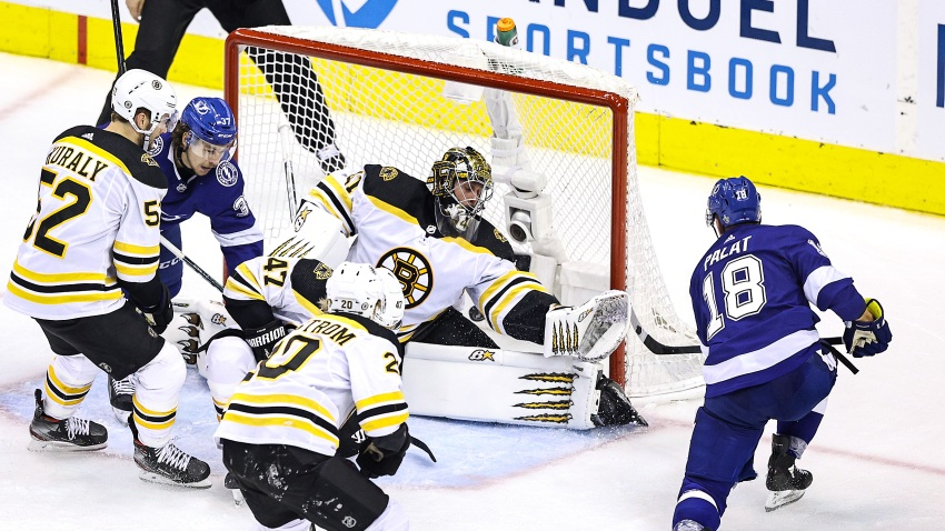 Ondrej Palat #18 of the Tampa Bay Lightning scores a goal past Jaroslav Halak #41 of the Boston Bruins during overtime to win Game Two of the Eastern Conference Second Round during the 2020 NHL Stanley Cup Playoffs at Scotiabank Arena on August 25, 2020 in Toronto, Ontario.