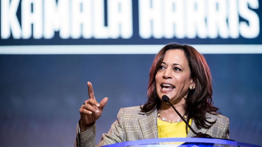 Sen. Kamala Harris (D-Calif.) addresses the crowd at the 2019 South Carolina Democratic Party State Convention, June 22, 2019, in Columbia, S.C.