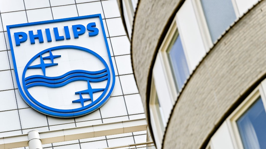 The Philips logo on the office in Amsterdam, April 18, 2011.