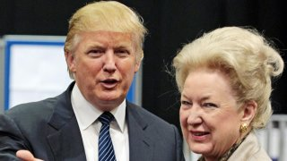 US property tycoon Donald Trump (L) is pictured with his sister Maryanne Trump Barry