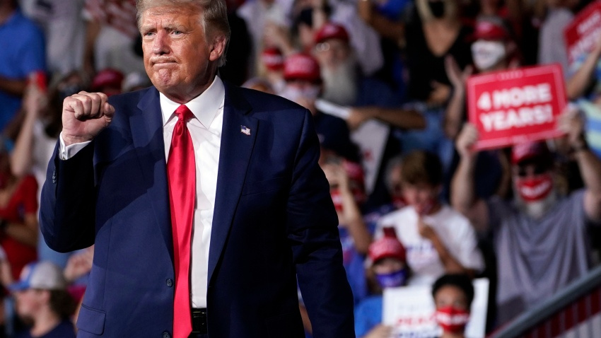 President Donald Trump gestures after speaking at a campaign rally at Smith Reynolds Airport, Tuesday, Sept. 8, 2020, in Winston-Salem, N.C.