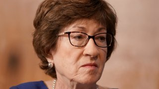 Senator Susan Collins listens during hearing