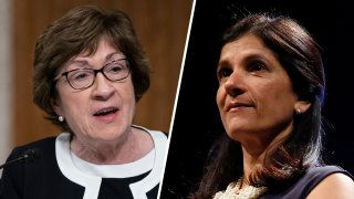 Incumbent Republican Sen. Susan Collins, left, will be defending her congressional seat from Maine Democrat House Speaker Sara Gideon, right, in the Nov. 3 election.