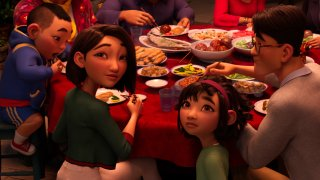 """This image released by Netflix shows animated characters, from left, Chin, voiced by Robert G. Chiu, Mrs. Zhong, voiced by Sandra Oh, Fei Fei, voiced by Cathy Ang and Father, voiced by John Cho in a scene from """"Over the Moon"""""""