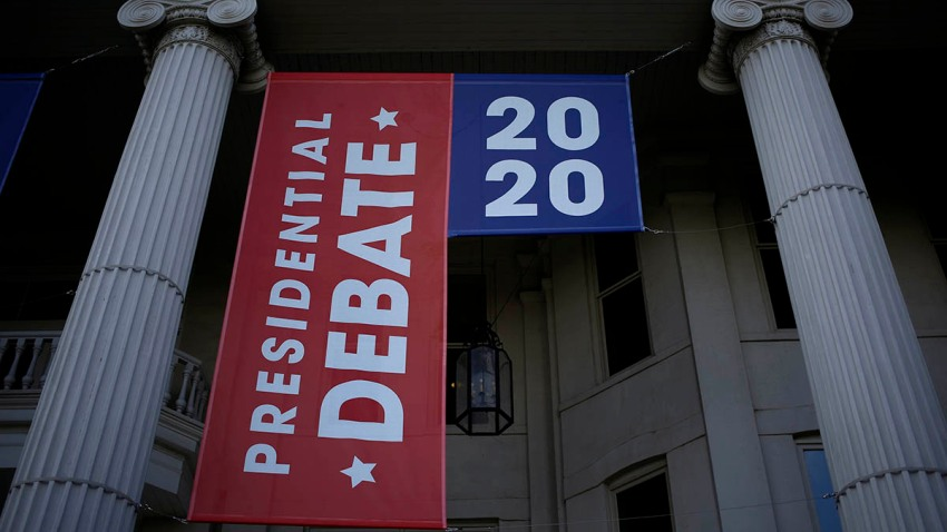 Signage is displayed on the campus of Belmont University ahead of the final U.S. presidential debate at Belmont University in Nashville, Tennessee, Oct. 20, 2020.