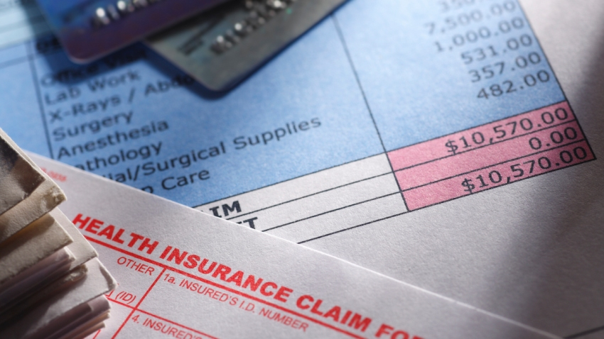 A health insurance claim form on a medical bill.
