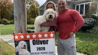 Oliver the dog runs for President Fall River