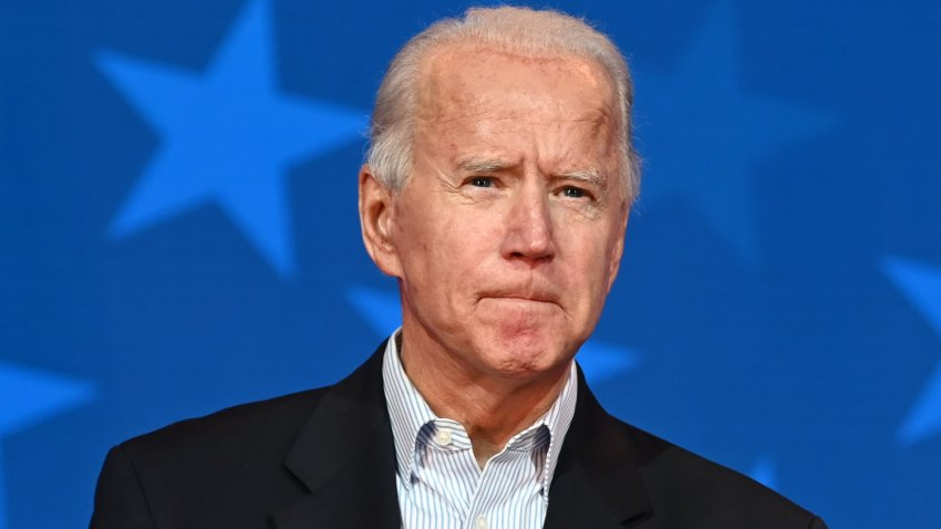 In this Nov. 5, 2020, file photo, Democratic Presidential candidate Joe Biden looks on while speaking at the Queen venue in Wilmington, Delaware.