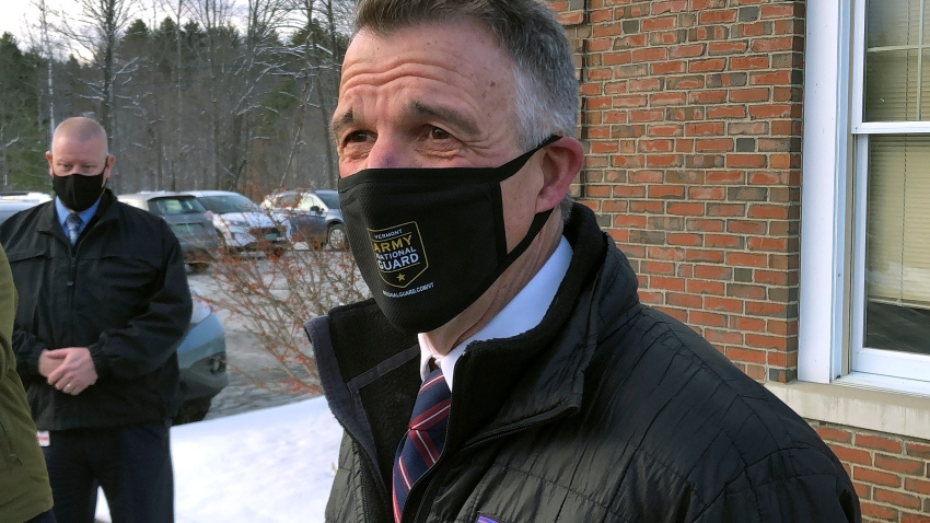 Vermont Republican Gov. Phil Scott speaks to reporters after voting on Tuesday, Nov. 3, 2020, in his hometown of Berlin, Vt. Scott said he voted for Democrat Joe Biden for president because he believes the former vice president can do more to bring the country together. He said it was the first time in his life he's voted for a Democrat.