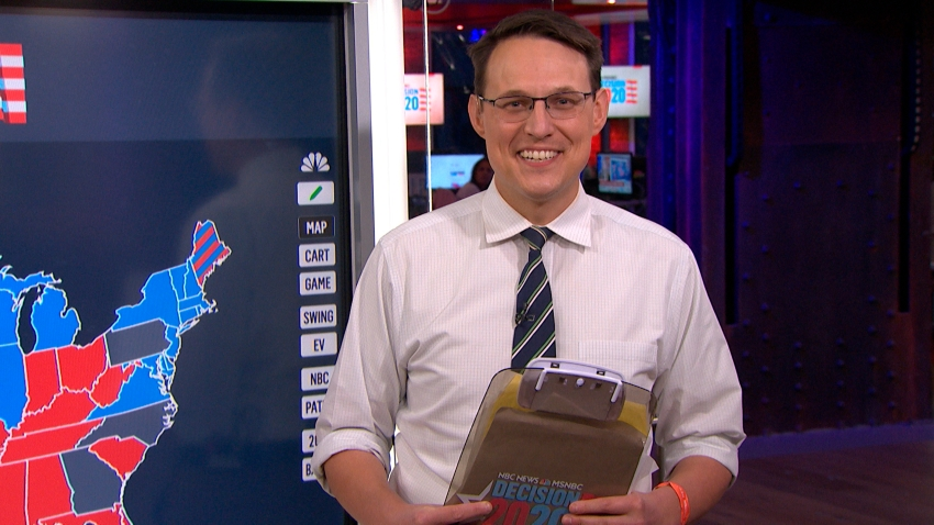 "In this Nov. 4, 2020, file photo, NBC News journalist Steve Kornacki during an interview on ""The Tonight Show."""