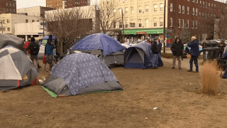 A homeless encampment outside the Hillsborough County Courthouse in Manchester, New Hampshire.