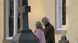 President-elect Joe Biden and his wife Jill Biden walk from St. Joseph on the Brandywine Roman Catholic Church in Wilmington, Del.
