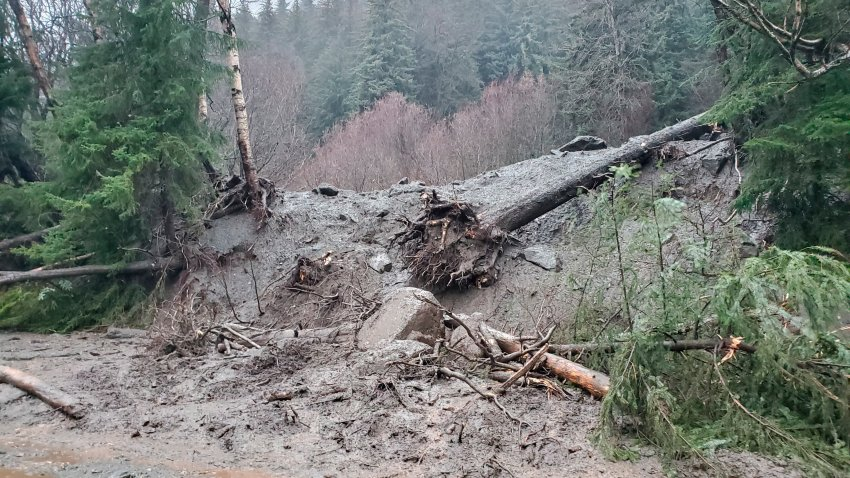 This photo provided by the Alaska Department of Transportation and Public Facilities shows damage from heavy rains and a mudslide 600 feet wide in Haines, Alaska, on Wednesday, Dec. 2, 2020.