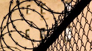 Barbed wire around prison