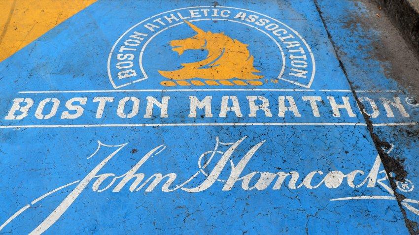 A close-up of the Boston Marathon finish line