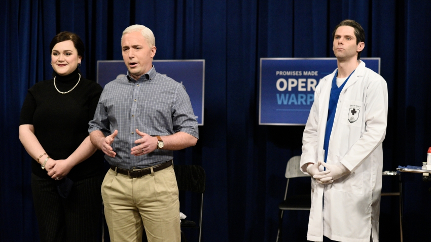 """Lauren Holt as Karen Pence, Beck Bennett as Mike Pence, and Mikey Day as a healthcare worker during the """"Pence Gets The Vaccine"""" Cold Open on Saturday, December 19, 2020"""