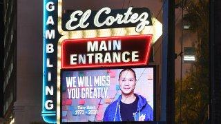 A tribute to tech entrepreneur Tony Hsieh at the El Cortez Hotel & Casino