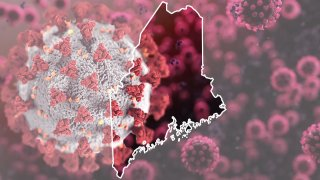A map of Maine superimposed over a coronavirus graphic
