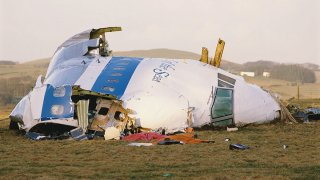 December 1988: Some of the wreckage of Pan Am Flight 103 after it crashed onto the town of Lockerbie in Scotland, on Dec. 21, 1988. The Boeing 747 'Clipper Maid of the Seas' was destroyed en route from Heathrow to JFK Airport in New York, when a bomb was detonated in its forward cargo hold. All 259 people on board were killed, as well as 11 people in the town of Lockerbie.