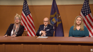 """Cecily Strong appears as Melissa Carone alongside Kate McKinnon as Rudy Giuliani on """"Saturday Night Live,"""" December 5th, 2020."""