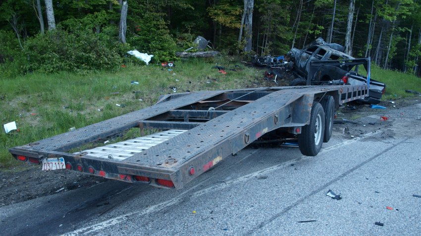A charred truck that crashed into a line of motorcycles in New Hampshire in 2019, killing seven people.
