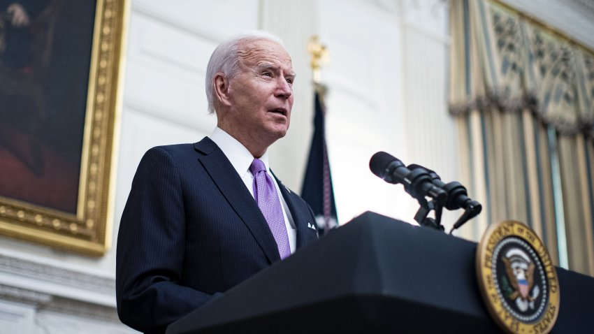In this Jan. 21, 2021, file photo, U.S. President Joe Biden speaks in the State Dining Room of the White House in Washington, D.C.