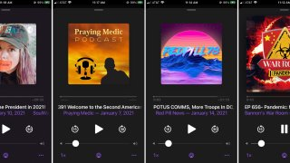 This combination of photos shows various podcasts