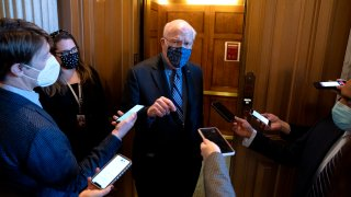 This Jan. 12, 2021, file photo shows Sen. Patrick Leahy, D-Vermont, speaking to reporters at the U.S. Capitol.