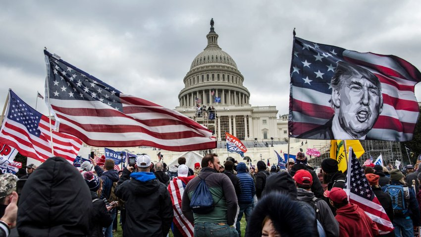 President Donald Trump's supporters gather outside of the U.S. Capitol building, Jan. 6, 2021.