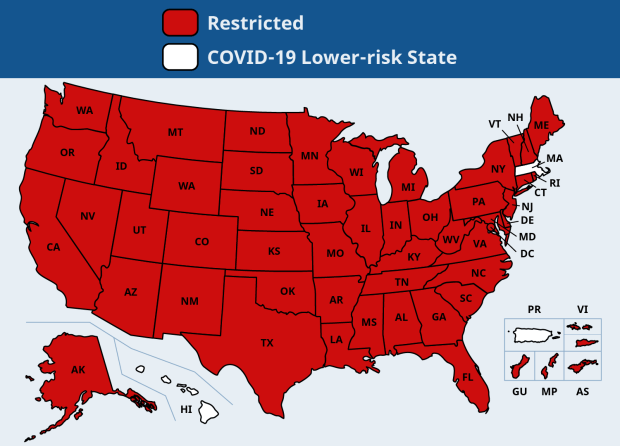 A map showing where people must quarantine from if they're arriving in Massachusetts starting Saturday, March 27