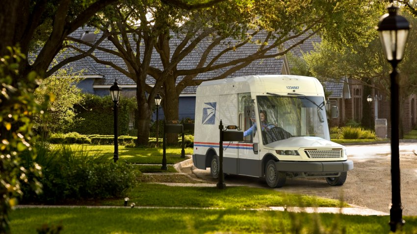 Photo of a greener USPS mail delivery truck by Oshkosh Defense.
