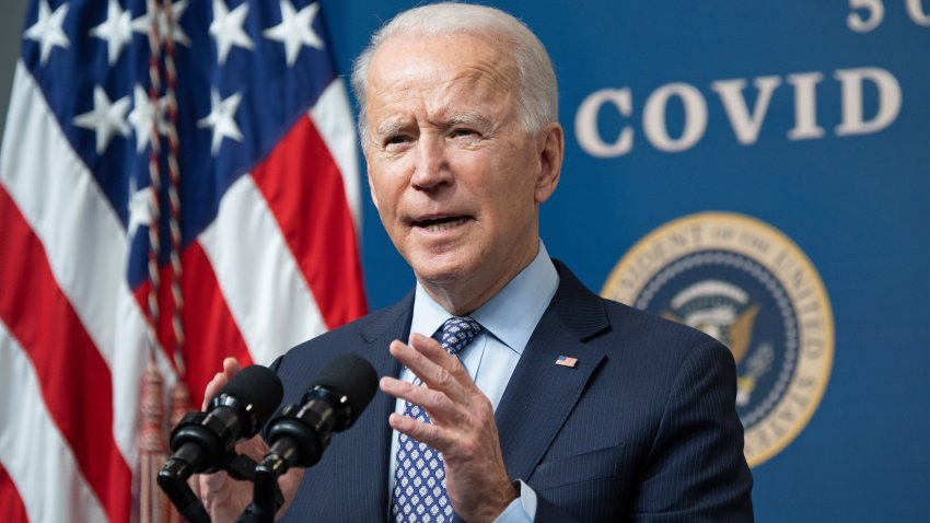 In this Feb. 25, 2021, file photo, President Joe Biden speaks about the 50 million doses of the COVID-19 vaccine shot administered in the U.S. during an event commemorating the milestone in the Eisenhower Executive Office Building in Washington, D.C.