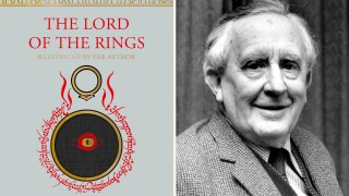 "This combination photo shows an upcoming edition of J.R.R. Tolkien's ""The Lord of the Rings"" trilogy, left, and a 1967 photo of Tolkien"