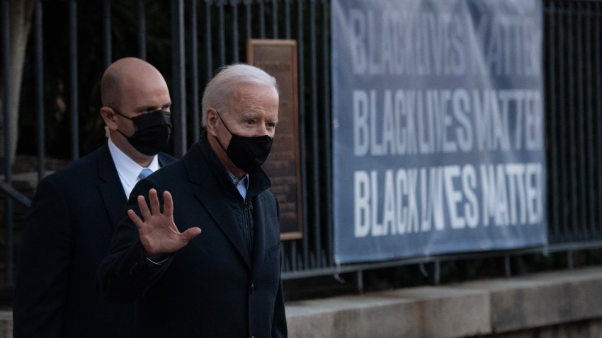 US President Joe Biden leaves Holy Trinity Catholic Church in Washington, DC, March 6, 2021.