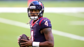 In this Jan. 3, 2021, file photo, Deshaun Watson #4 of the Houston Texans in action against the Tennessee Titans during a game at NRG Stadium in Houston, Texas.