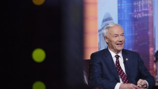 In this file photo, Asa Hutchinson, governor of Arkansas, speaks during a Bloomberg Television interview in New York, U.S., on Tuesday, May 28, 2019.