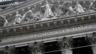 The New York Stock Exchange stands in lower Manhattan on April 15, 2021 in New York City.