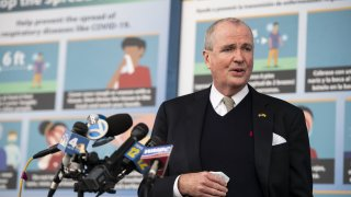 Phil Murphy, New Jersey's governor, speaks at a news conference after touring the New Jersey Convention and Exposition Center Covid-19 vaccination site in Edison, New Jersey, Jan. 15, 2021.
