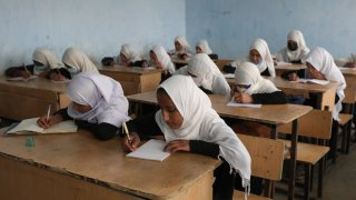 Afghan girls students attend school classes in a primary school in Kabul,