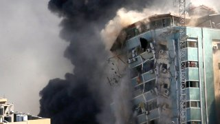 Gaza building toppled
