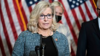 WASHINGTON, DC - APRIL 20: Rep. Liz Cheney (R-WY) speaks during a press conference following a House Republican caucus meeting on Capitol Hill on April 20, 2021 in Washington, DC. The House Republican members spoke about the Biden administration's immigration policies and the coronavirus pandemic.
