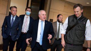 House Minority Whip Steve Scalise, R-La., and Rep. Blake Moore, R-Utah, right, are seen in the Capitol Visitor Center before Rep. Elise Stefanik, R-N.Y., won the election for House Republican Conference chair on Friday, May 14, 2021