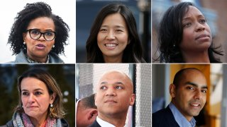 From top-left, clockwise: Boston Mayor Kim Janey, Boston City Councilors Michelle Wu and Andrea Campbell, State Rep. Jon Santiago, former Chief of Economic Development John Barros and Boston City Councilor Annissa Essaibi George.