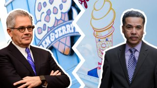 Left: Philadelphia District Attorney Larry Krasner, placed in front of a Ben & Jerry's logo. Right: His opponent in the DA's race, Carlos Vega, placed in front of a Mister Softee logo.